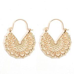 New! Golden Hollowed Dangle Drop Earrings